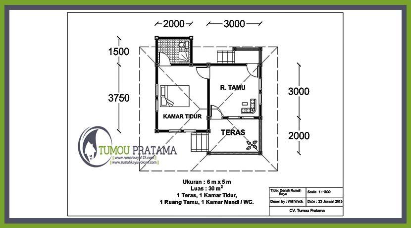 Denah Rumah Kayu Woloan Tumou Pratama