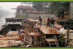 Bongkar Muatan Rumah Kayu Kalimantan
