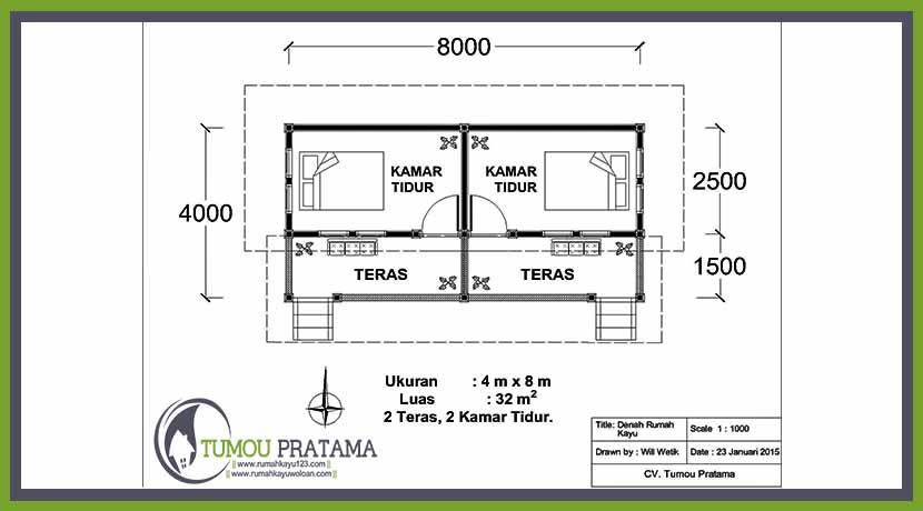 Denah Cottage Rumah Kayu tipe 32