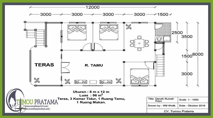 Denah Rumah Kayu di Jogjakarta tipe 96