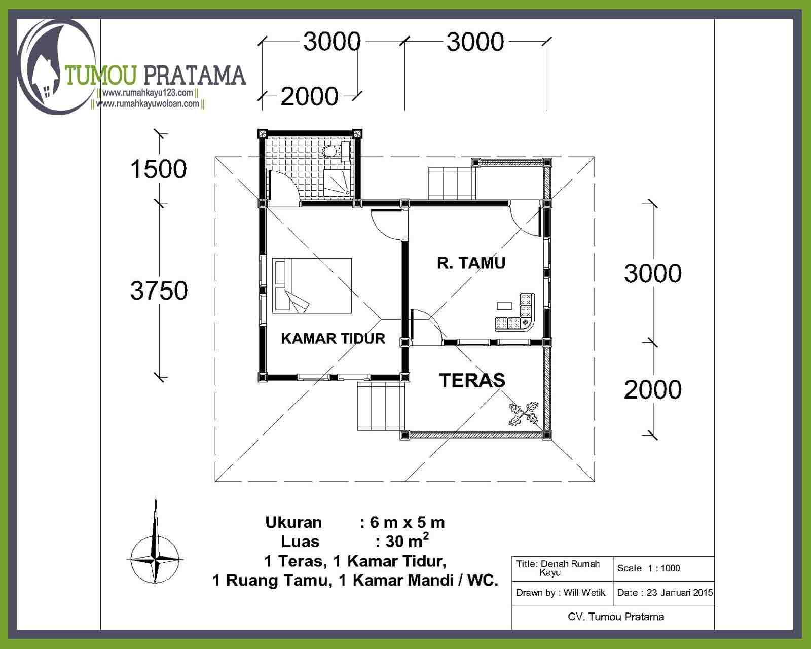 Denah Cottage Rumah Kayu tipe 30
